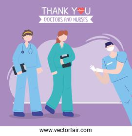 thanks, doctors, nurses, female and male nurses with medical and uniform