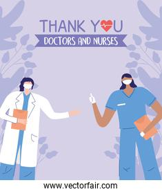 thanks, doctors, nurses, physician and nurse with masks and clipboard medical