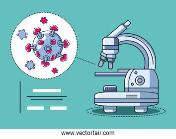 infographic with laboratory microscope, research coronavirus