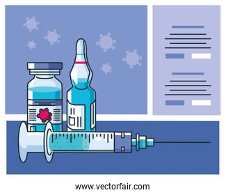 infographic with ampoule and syringe