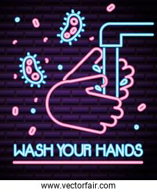 covid19 particles and hands washing neon light style