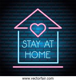 stay at home campaign for covid19 neon light style