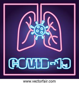covid19 particles and lungs neon light style