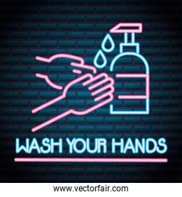 wash your hands for covid19 neon light style