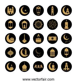 lanterns and ramadan icon set, block line style