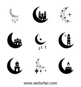 crescent moons and ramadan icon set, line style
