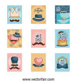 Happy fathers day cards with mustaches icon set