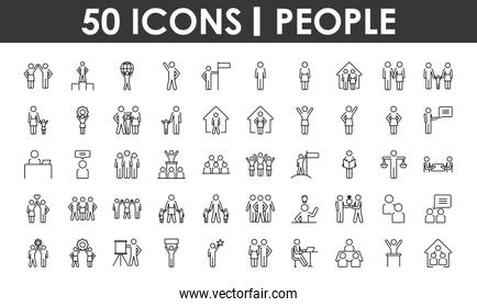 icon set of pictogram people, line style