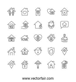 hearts and stay home icon set, line style icons