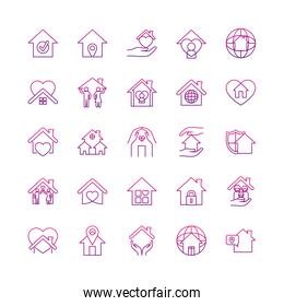 global spheres and stay home icon set, gradient style