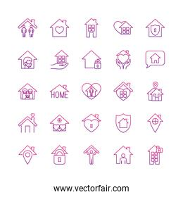 hearts and stay home icons set