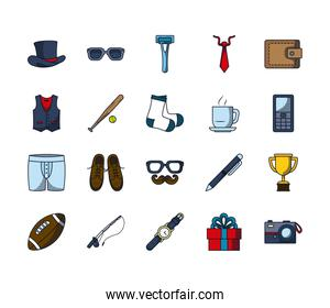 trophy cup and Happy fathers day icon set, line and fill style