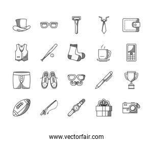 trophy cup and Happy fathers day icon set, line style