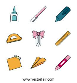 ruler and stationary icon set, line and fill style