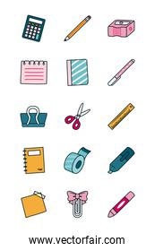 calculator and stationary icon set, line and fill style