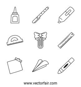 ruler and stationary icon set, line style