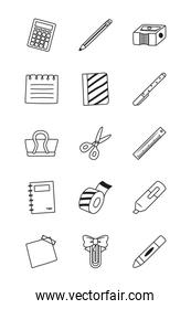 calculator and stationary icon set, line style