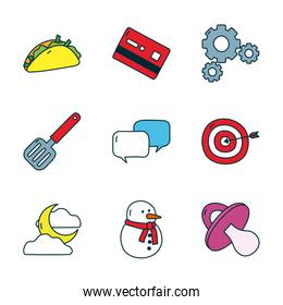 target and everyday things icon set, line and fill style