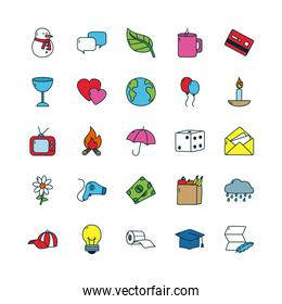 flowers and everyday things icon set, line and fill style