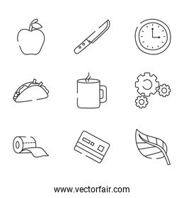 credit card and everyday things icon set, line style