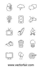 computer and everyday things icon set, line style