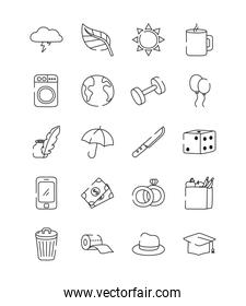 umbrella and everyday things icon set, line style