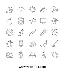 flowers and everyday things icon set, line style