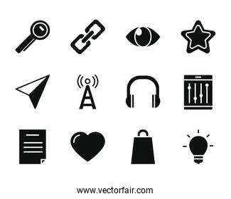 location arrow and smartphone app buttons icon set, silhouette style