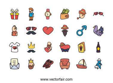 Fathers day flat style icon set vector design