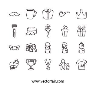 Fathers day line style icon set vector design