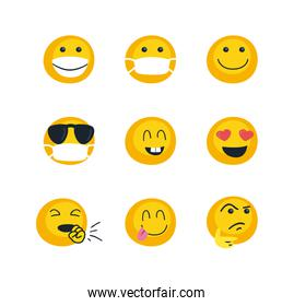 Emojis faces flat style icon set vector design