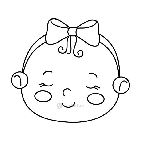 face of cute little baby girl isolated icon