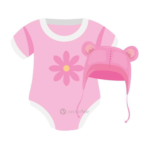 cute clothes baby girl and hat with ears