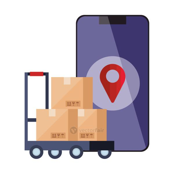 boxes over cart gos mark and smartphone vector design