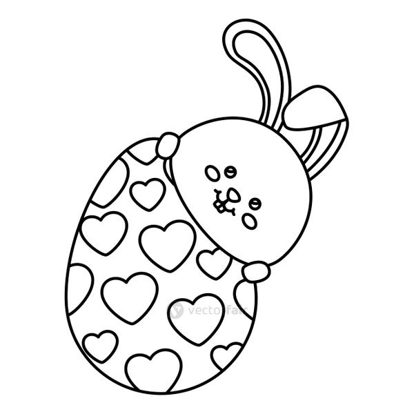cute rabbit with egg easter isolated icon