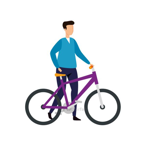 young man with bike avatar character icon