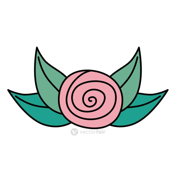 cute rose flower with leafs isolated icon