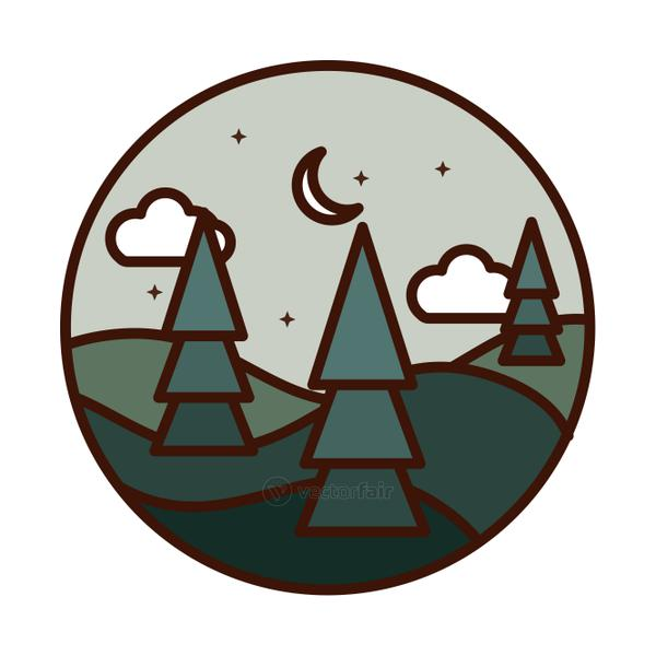 landscape nature trees hills half moon stars line and fill icon