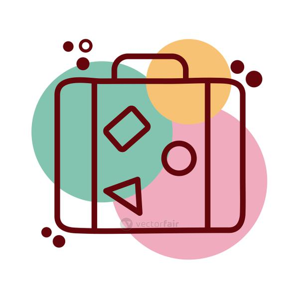 suitcase travel line and color style icon
