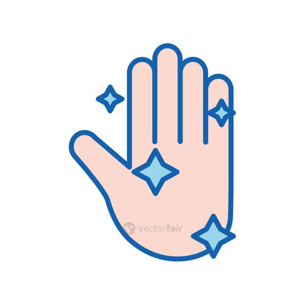 Hand washing line and fill style icon vector design