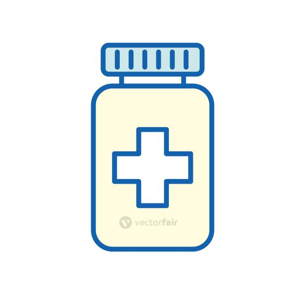 Medicine jar with cross line and fill style icon vector design