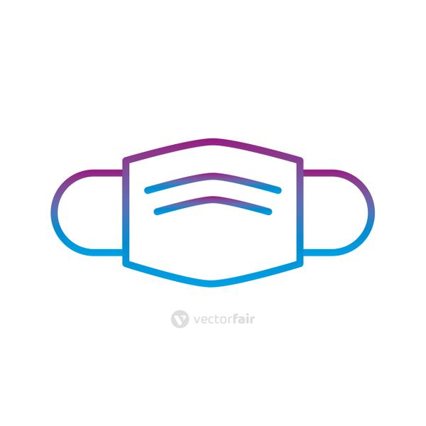 Medical mask gradient line style icon vector design