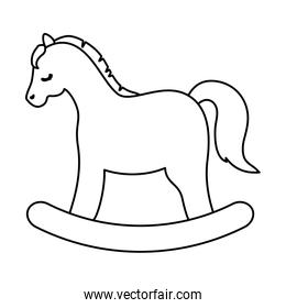 wooden horse toy line style icon