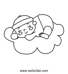cute little baby boy in cloud isolated icon