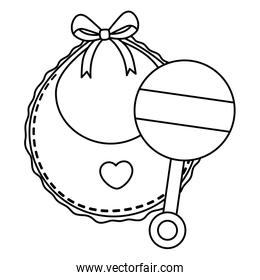 rattle baby with baby bib linear style icon