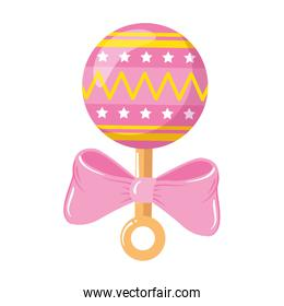 rattle baby toy with bow ribbon isolated icon