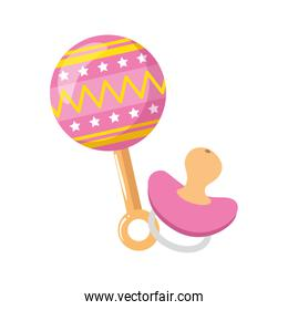 rattle baby toy with pacifier isolated icon
