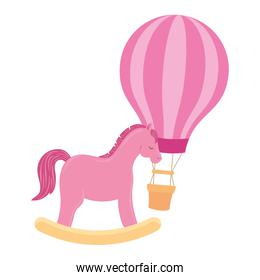 balloon travel hot with horse wooden toy