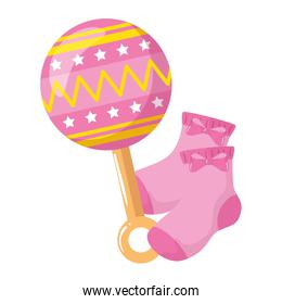 rattle baby with socks toy isolated icon