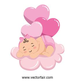 cute little baby girl sleeping in cloud with balloons helium